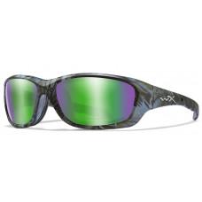 Очки GRAVITY Captivate Green Mirror Kryptek Neptune  Fram с оправой цвета Kryptek с обтюратором  и зелеными поляризованными линзами Captivate