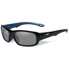Очки GAMER (прозрачные и серые линзы, глянцевая оправа цвета черно-синий металлик)