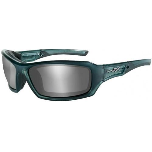 Очки ECHO с синевато-стальной оправой и дымчато-серебристыми линзами.