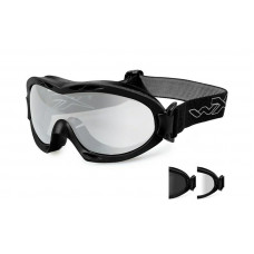 Очки-маска NERVE с матовой черной оправой и дымчатыми/прозрачными линзами.