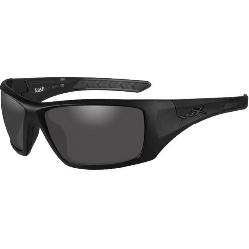 Очки NASH с матовой черной оправой и дымчато-серыми линзами.