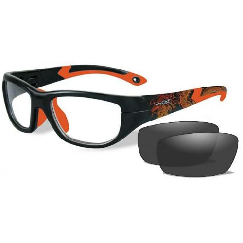 Очки VICTORY (прозрачные и серые линзы, матовая  черно-красная оправа  Dragon/Sonic Orange)