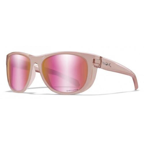 Очки WEEKENDER Captivate Rose Gold Crystal Blush Frame с розовой оправой и розовыми стеклами