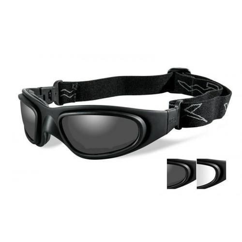 Очки-маска SG-1 с матовой черной оправой и дымчатыми/прозрачными линзами.