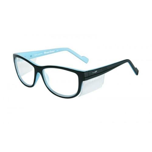 Очки MARKER  (прозрачные линзы, глянцевая  черно-голубая оправа)