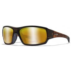 Очки BREACH с матовой коричневой оправой оттенка Гикори и поляризованными  бронзовыми линзами Captivate с зеркальным покрытием