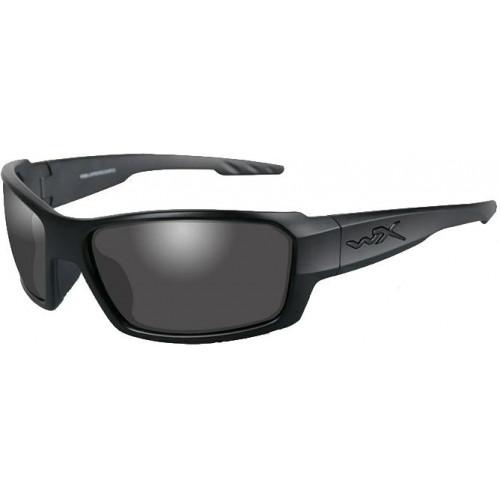 Очки REBEL с матовой черной оправой и дымчато-серыми линзами.