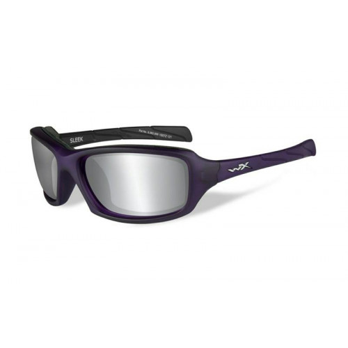 Очки SLEEK с матовой темно-фиолетовой оправой и серо-серебристыми линзами.