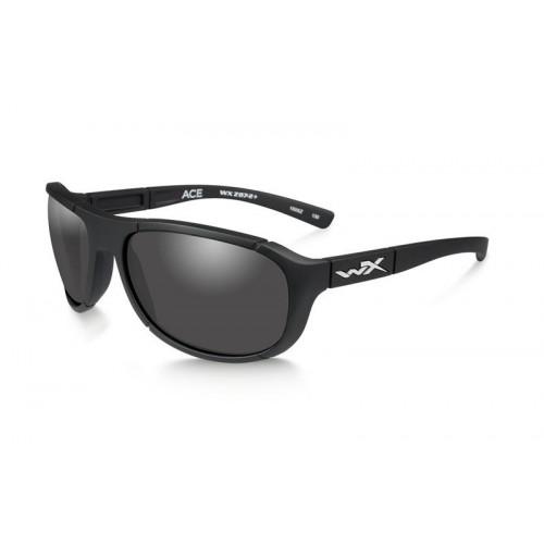 Очки ACE с матовой черной оправой и дымчато-серыми линзами.